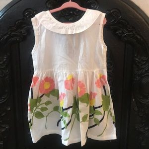Size 7 white cotton summer dress with flowers
